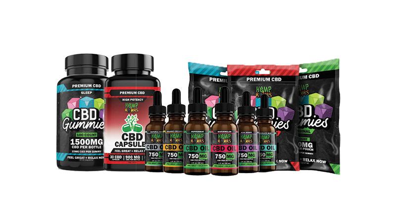 hempbomb cbd products on white background